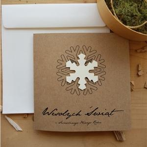 Ekologiczna Kartka Świąteczna ze śnieżką - WS010
