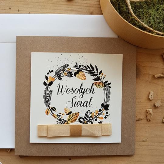 Ekologiczna Kartka Świąteczna z kokardą - WS012