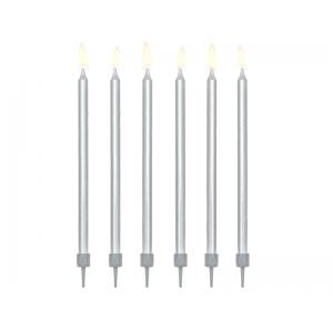 Świeczki urodzinowe gładkie, srebrny, 12,5cm