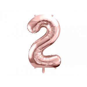 """Balon foliowy Cyfra """"2"""", 86cm, różowe złoto"""
