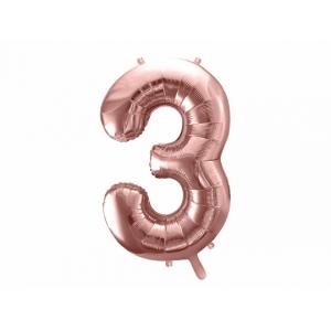 """Balon foliowy Cyfra """"3"""", 86cm, różowe złoto"""