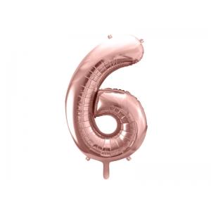 """Balon foliowy Cyfra """"6"""", 86cm, różowe złoto"""