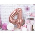 """Balon foliowy Cyfra """"4"""", 86cm, różowe złoto"""