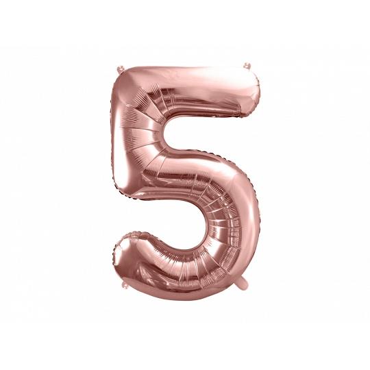 """Balon foliowy Cyfra """"5"""", 86cm, różowe złoto"""