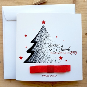 Kartka Świąteczna z kokardą klejoną -WS002