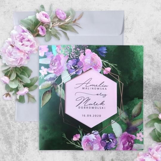 Zaproszenie Ślubne magiczna butelkowa zieleń