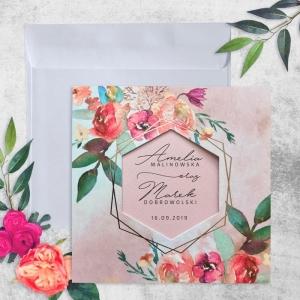 Zaproszenie Ślubne magicznie koktajlowy róż