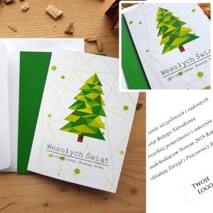 Kartka świąteczna z choinką geometryczną - WS013