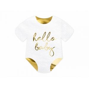 Serwetki Śpioszki - Hello Baby, biały, 16x16cm