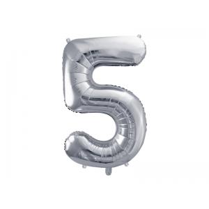 """Balon foliowy Cyfra """"5"""", 86cm, srebrny"""