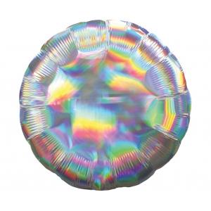 Balon foliowy 18 cali RND - Koło srebrne opalizujące