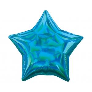 Balon foliowy 18 cali STR - Gwiazda Niebieska opalizująca