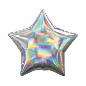 Balon foliowy 18 cali STR - Gwiazda Srebrna opalizująca