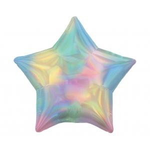 Balon foliowy 18 cali STR - Gwiazda Tęczowa opalizująca, jasne kolory