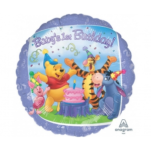 "Balon foliowy 18"" CIR - ""Pooh & Friends 1st BDAY"""