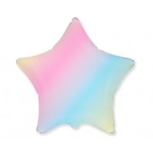 Balon foliowy 18 cali FX - Gwiazda (pastel tęczowy)