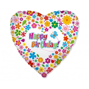 Balon foliowy 18 cali FX - Happy Birthday (z kwiatuszkami)
