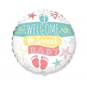 Balon foliowy 18 cali FX - Welcome Sweet Baby (okrągły)