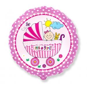 """Balon foliowy 18"""" FX - """"Wózek dla dziewczynki"""", różowy"""