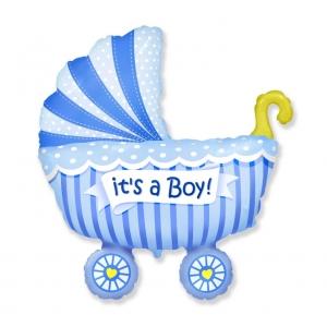Balon foliowy 24 cali FX, Wózek dla chłopca (niebieski)