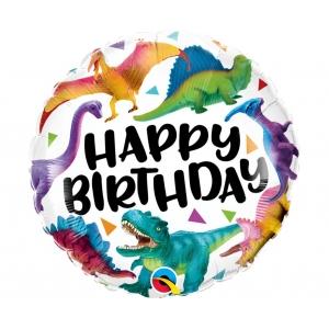 Balon foliowy 18 cali QL RND Birthday Dinosaurs