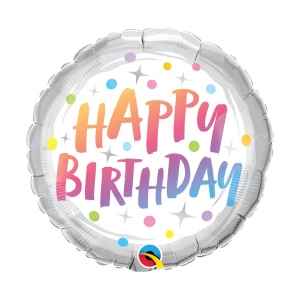 Balon foliowy 18 cali QL RND Happy Birthday, tęczowe grochy