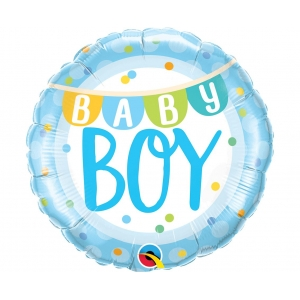 Balon foliowy 18 cali QL CIR - Baby Boy Banner & Dots