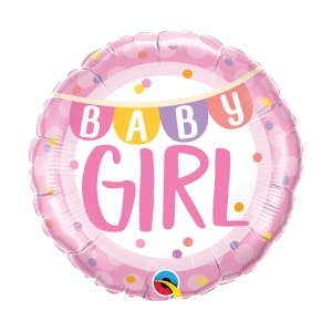 Balon foliowy 18 cali QL CIR - Baby Girl Banner & Dots