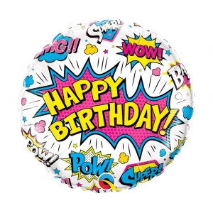 Balon foliowy 18 cali QL CIR Birthday Super Hero, biały