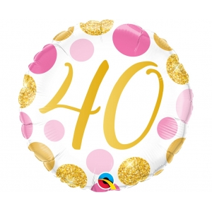 Balon foliowy 18 cali QL CIR 40 Urodziny, różowo-złote groszki
