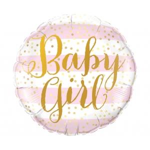 Balon foliowy 18 cali QL CIR Baby Girl, różowe paski