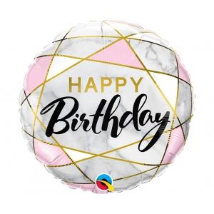 Balon foliowy 18 cali QL CIR Birthday Marble