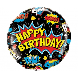 Balon foliowy 18 cali QL CIR Birthday Super Hero, czarny