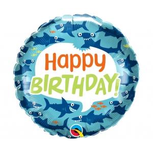 Balon foliowy 18 cali QL RND Birthday Fun Sharks