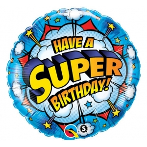 "Balon foliowy 18"" QL CIR - ""Have A Super Birthday!"""