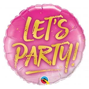 "Balon foliowy 18"" QL CIR - ""LET'S PARTY!"""