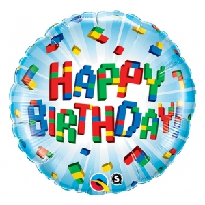 """Balon foliowy 18"""" QL CIR """"Happy Birthday Klocki"""""""