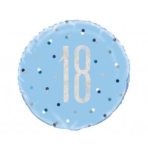 Balon foliowy UQ 18 cali Glitz, groszki z nadr. 18, niebieski