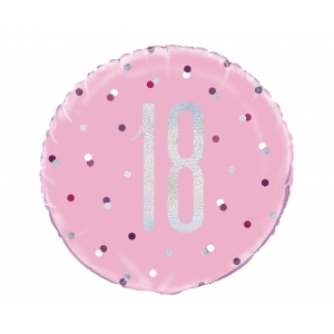 Balon foliowy UQ 18 cali Glitz, groszki z nadr. 18, różowy