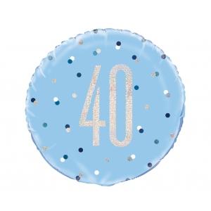 Balon foliowy UQ 18 cali Glitz, groszki z nadr. 40, niebieski
