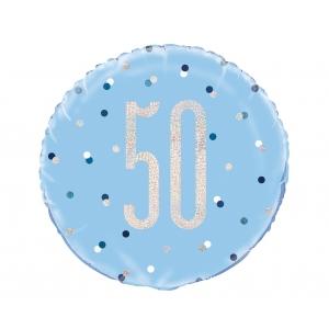 Balon foliowy UQ 18 cali Glitz, groszki z nadr. 50, niebieski