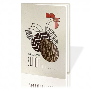 Kartka Świąteczna Eco ze świąteczną kurą  W734