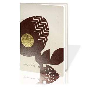 Kartka Świąteczna Eco z kurą i pisanką W736