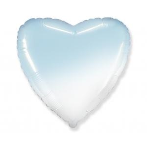 Balon foliowy 18 cali FX - Serce (gradient biało-błękitny)