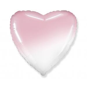 Balon foliowy 18 cali FX - Serce (gradient biało-różowy)