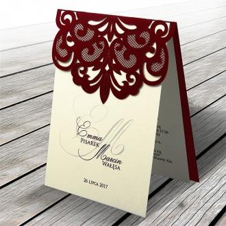 Zaproszenia Ślubne z Okładką Ażurową Wyciętą Laserowo F1324bg