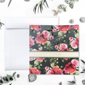 Zaproszenie Ślubne magiczna malinowa kwiaty F1511