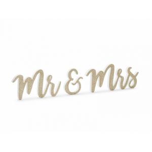 Drewniany napis Mr & Mrs, złoty, 50x10cm