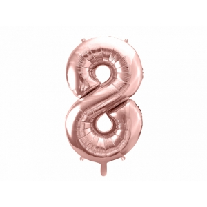 """Balon foliowy Cyfra """"8"""", 86cm, różowe złoto"""