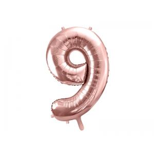"""Balon foliowy Cyfra """"9"""", 86cm, różowe złoto"""